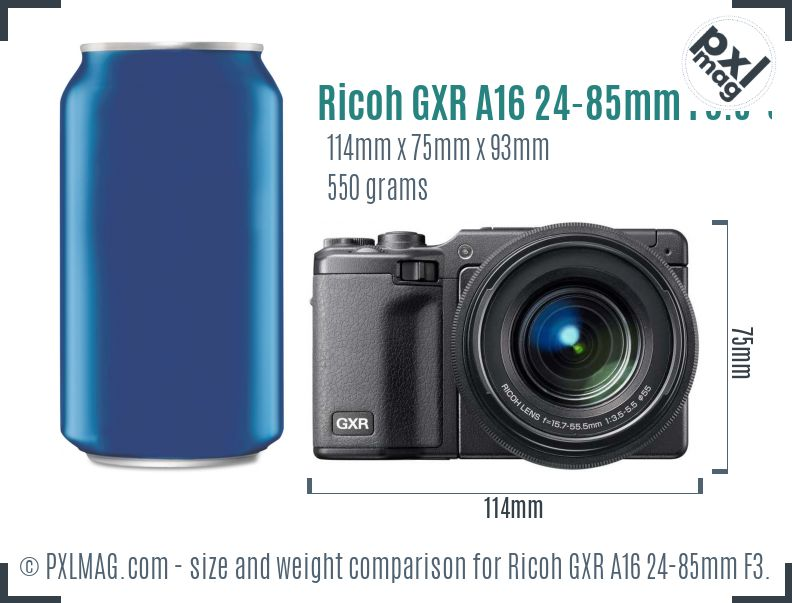 Ricoh GXR A16 24-85mm F3.5-5.5 dimensions scale
