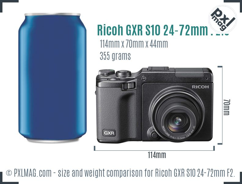 Ricoh GXR S10 24-72mm F2.5-4.4 VC dimensions scale
