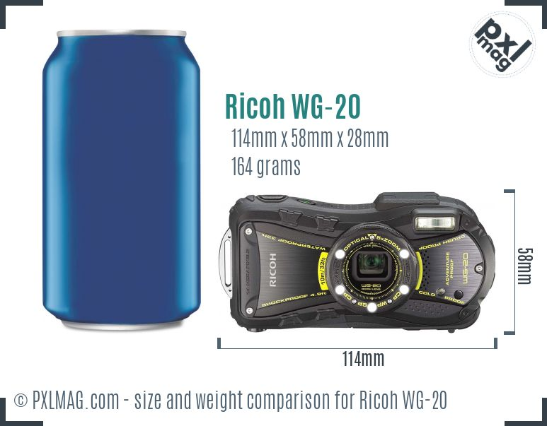 Ricoh WG-20 dimensions scale