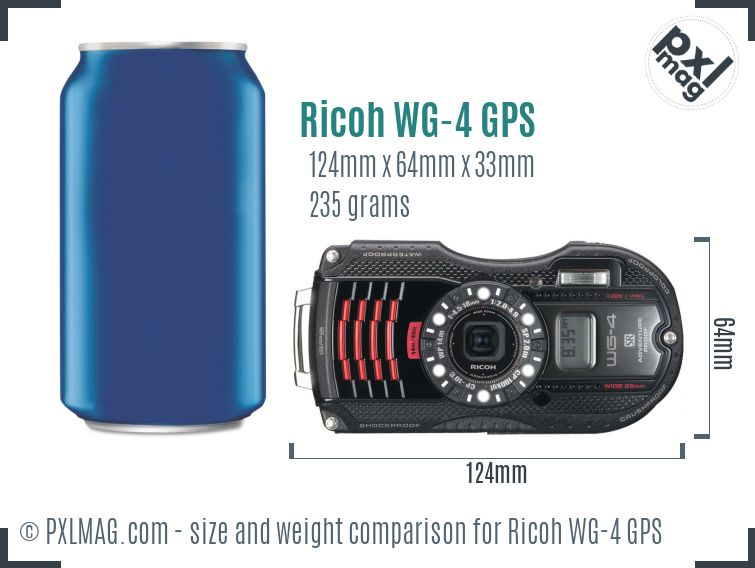 Ricoh WG-4 GPS dimensions scale
