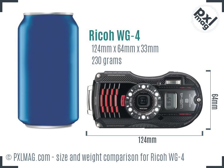 Ricoh WG-4 dimensions scale