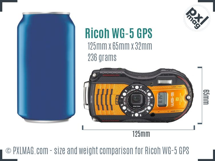 Ricoh WG-5 GPS dimensions scale