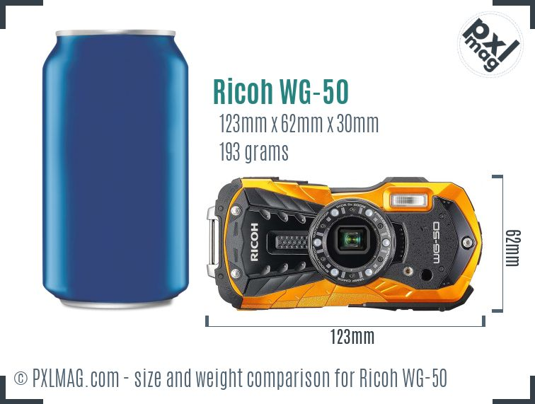 Ricoh WG-50 dimensions scale