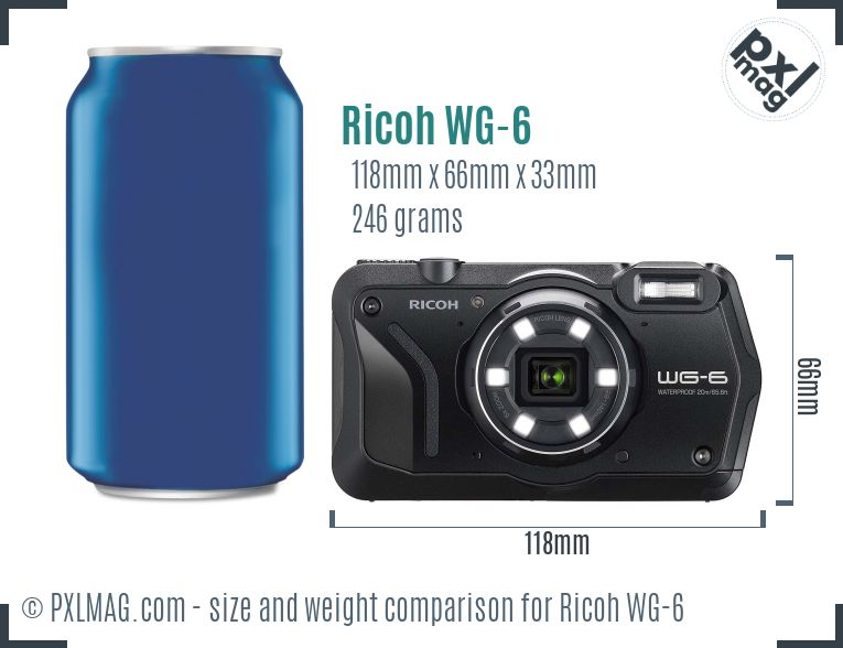 Ricoh WG-6 dimensions scale