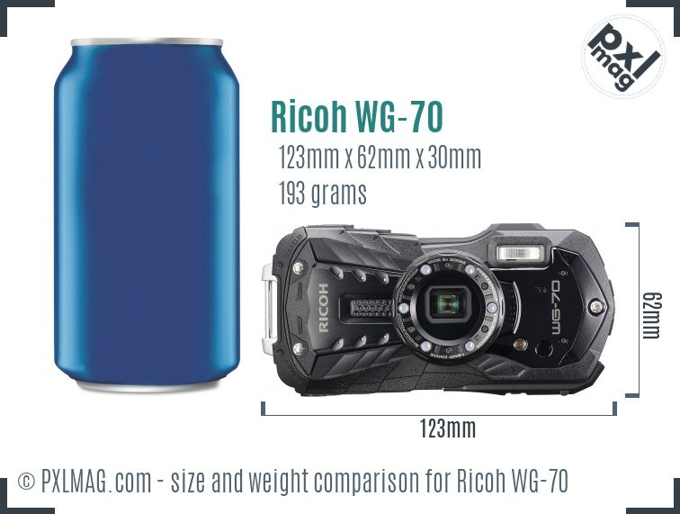 Ricoh WG-70 dimensions scale