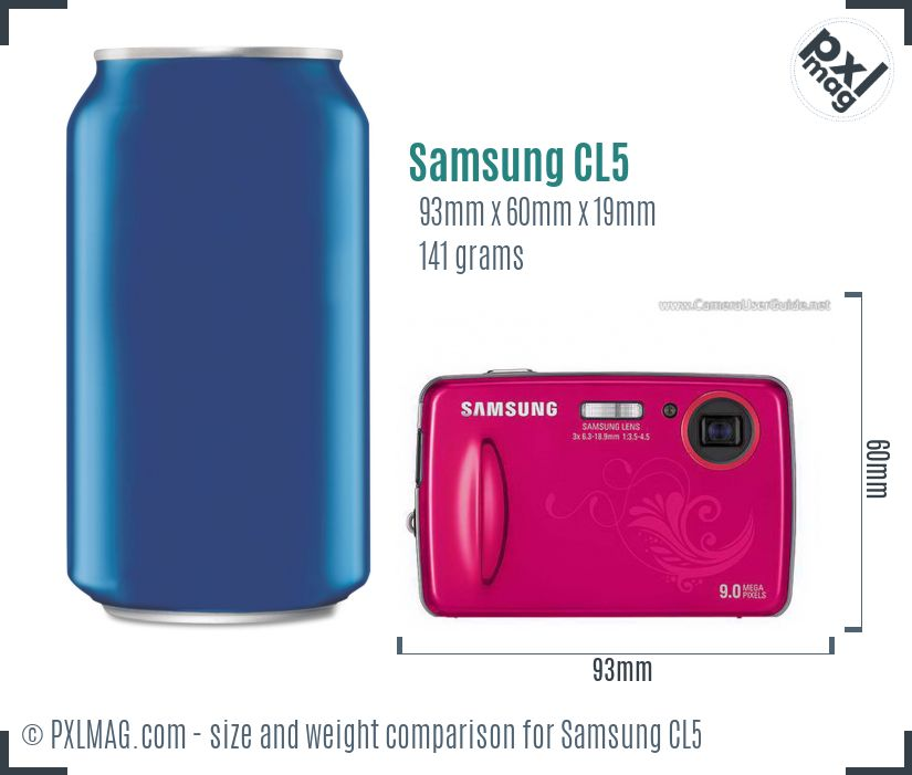 Samsung CL5 dimensions scale