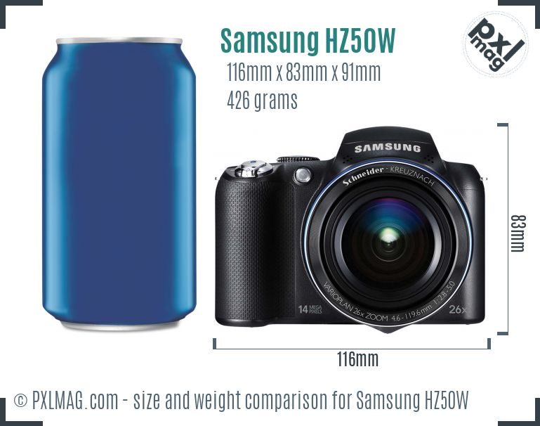 Samsung HZ50W dimensions scale