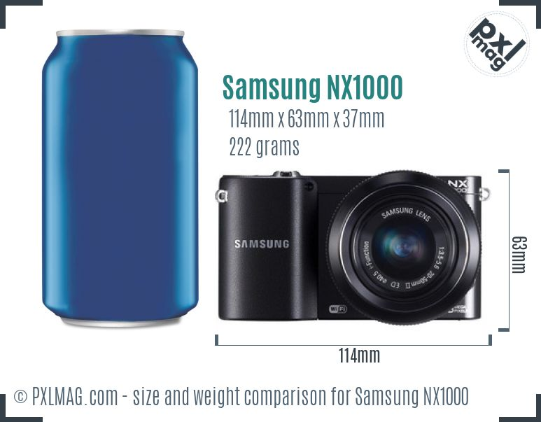 Samsung NX1000 dimensions scale