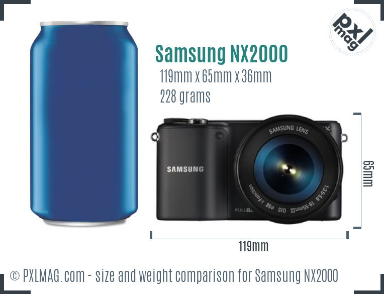 Samsung NX2000 dimensions scale