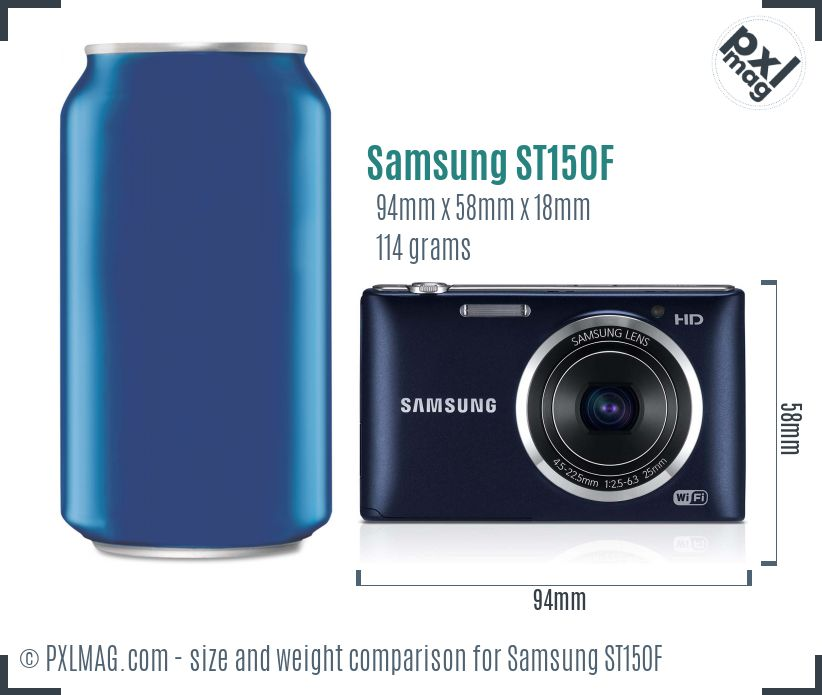 Samsung ST150F dimensions scale