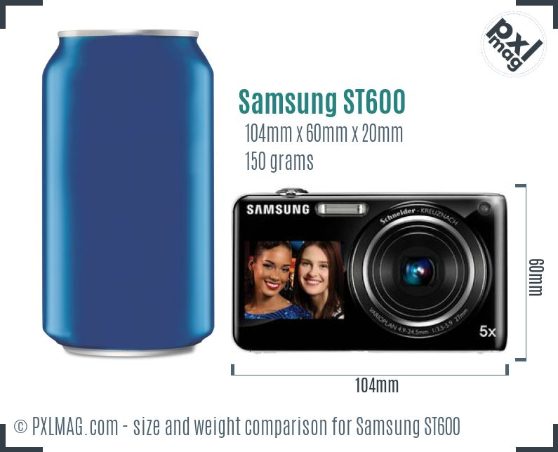 Samsung ST600 dimensions scale