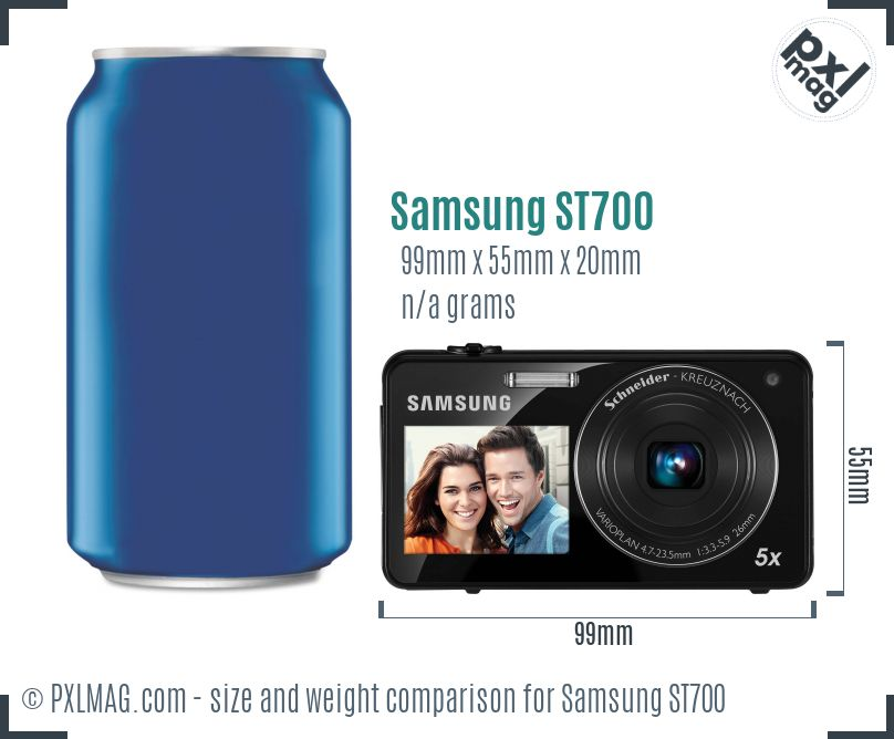 Samsung ST700 dimensions scale