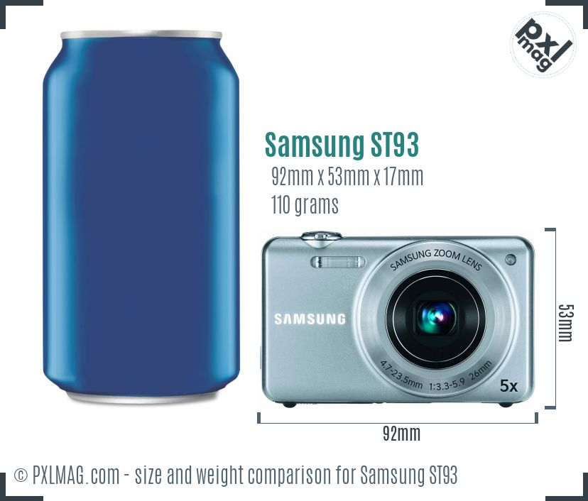 Samsung ST93 dimensions scale