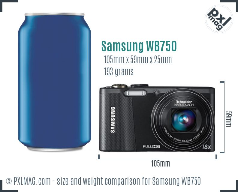 Samsung WB750 dimensions scale