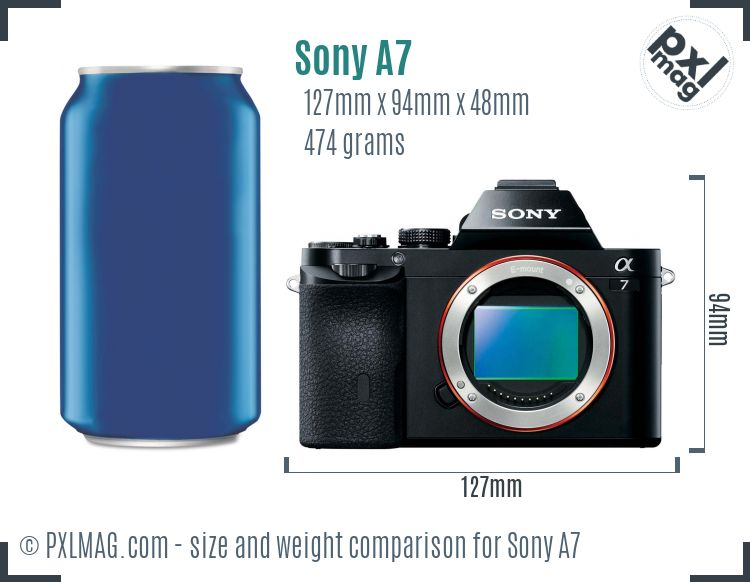 Sony Alpha A7 dimensions scale