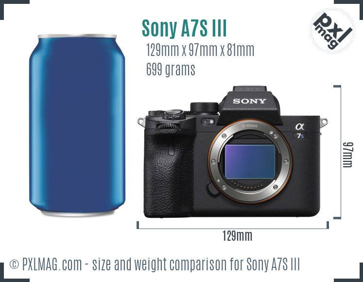 Sony Alpha A7S III dimensions scale