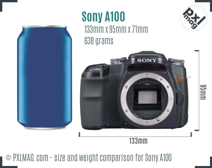 Sony Alpha DSLR-A100 dimensions scale