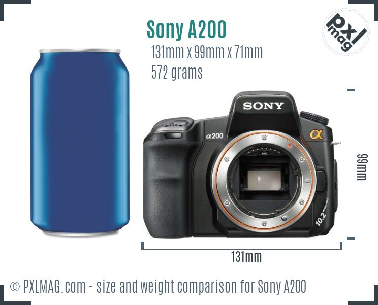 Sony Alpha DSLR-A200 dimensions scale