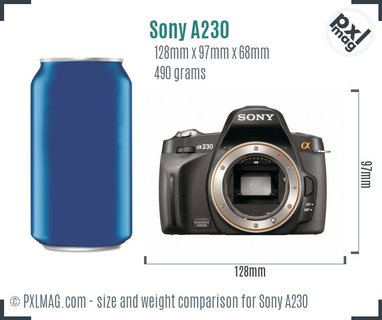 Sony Alpha DSLR-A230 dimensions scale