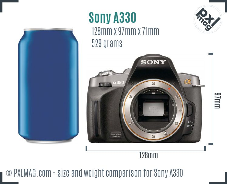 Sony Alpha DSLR-A330 dimensions scale