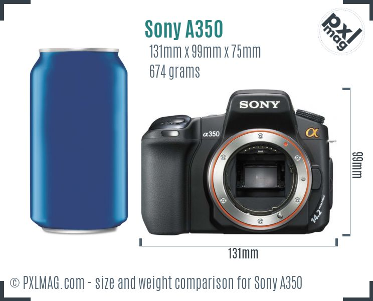 Sony Alpha DSLR-A350 dimensions scale