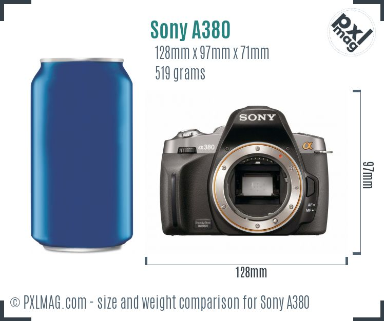 Sony Alpha DSLR-A380 dimensions scale
