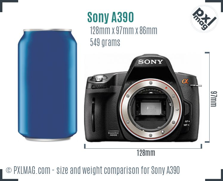 Sony Alpha DSLR-A390 dimensions scale
