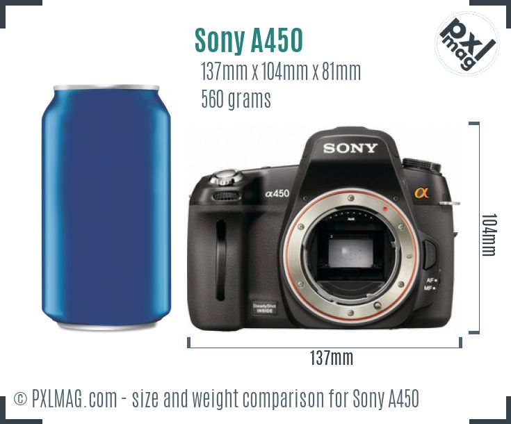 Sony Alpha DSLR-A450 dimensions scale