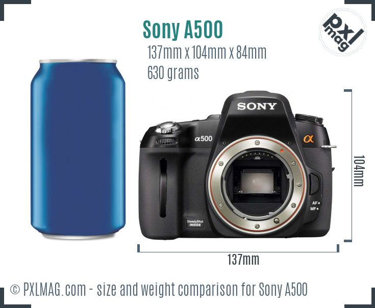 Sony Alpha DSLR-A500 dimensions scale