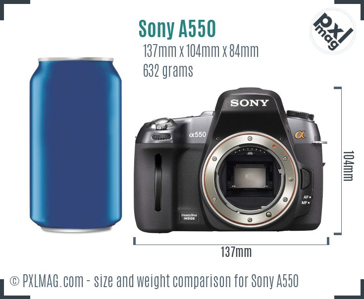 Sony Alpha DSLR-A550 dimensions scale