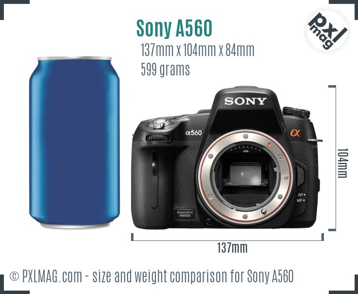 Sony Alpha DSLR-A560 dimensions scale