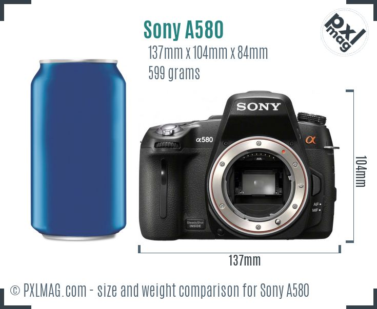 Sony Alpha DSLR-A580 dimensions scale