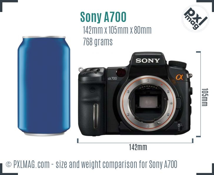 Sony Alpha DSLR-A700 dimensions scale