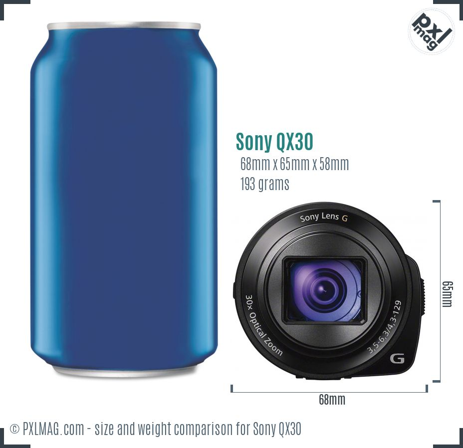 Sony Cyber-shot DSC-QX30 dimensions scale