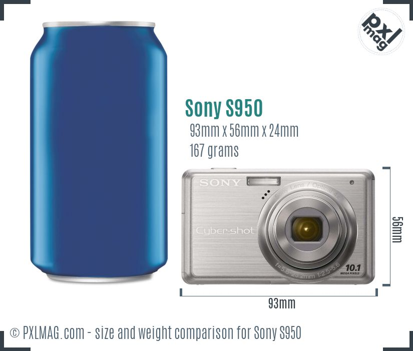 Sony Cyber-shot DSC-S950 dimensions scale