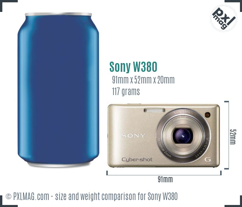 Sony Cyber-shot DSC-W380 dimensions scale