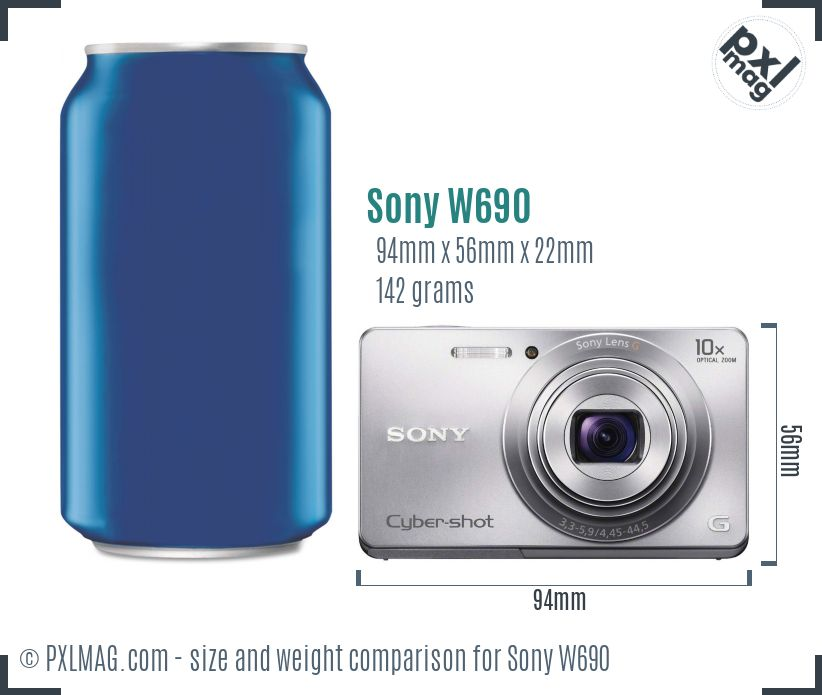 Sony Cyber-shot DSC-W690 dimensions scale