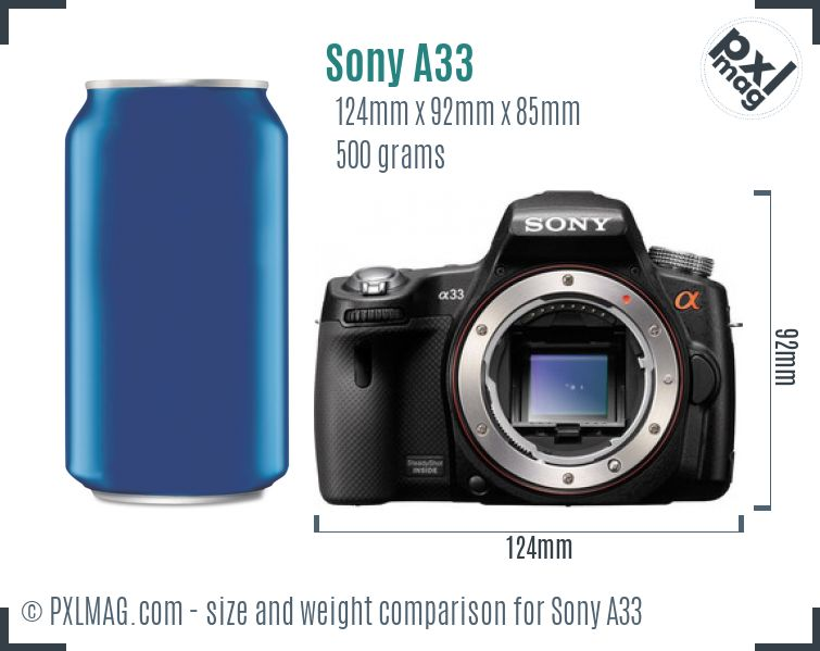 Sony SLT-A33 dimensions scale