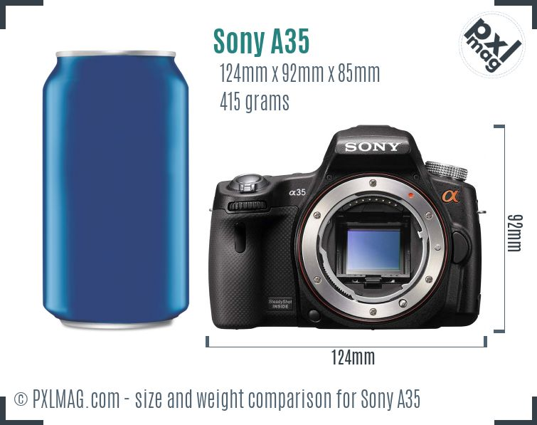Sony SLT-A35 dimensions scale