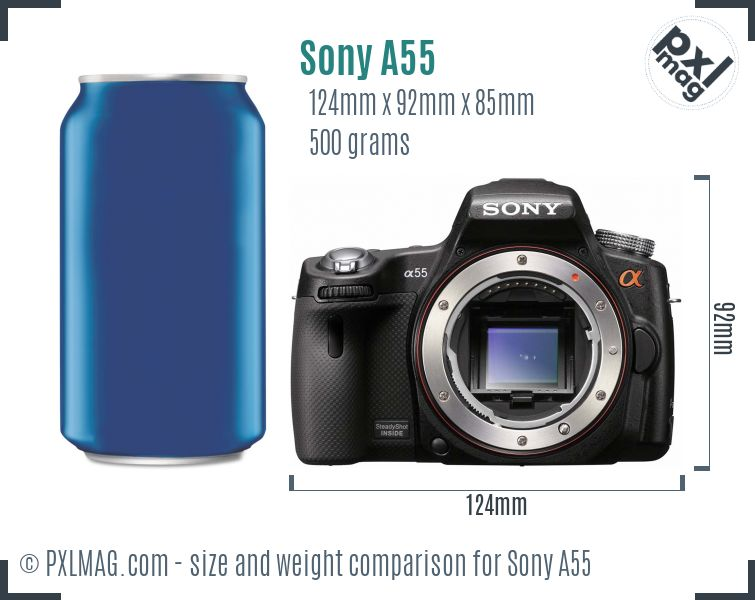 Sony SLT-A55 dimensions scale