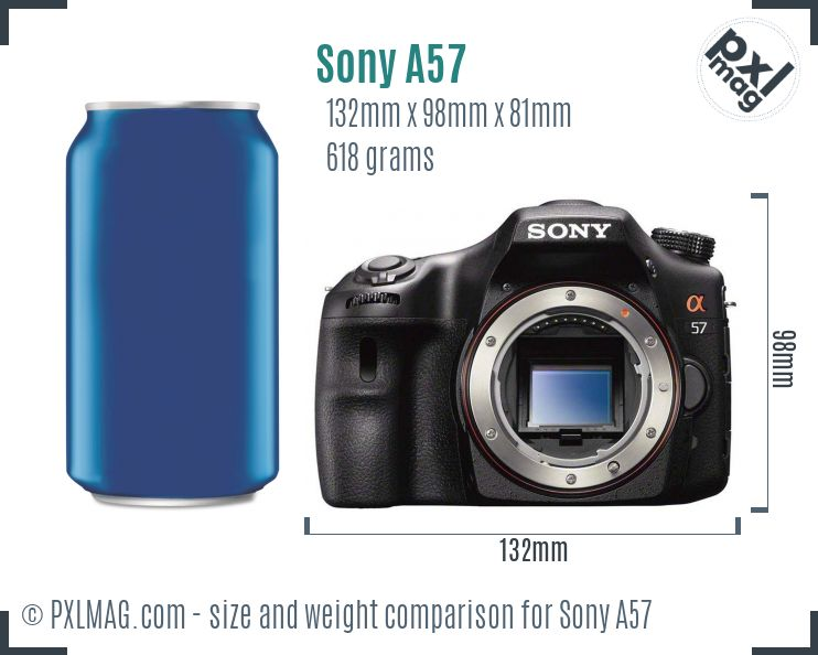 Sony SLT-A57 dimensions scale