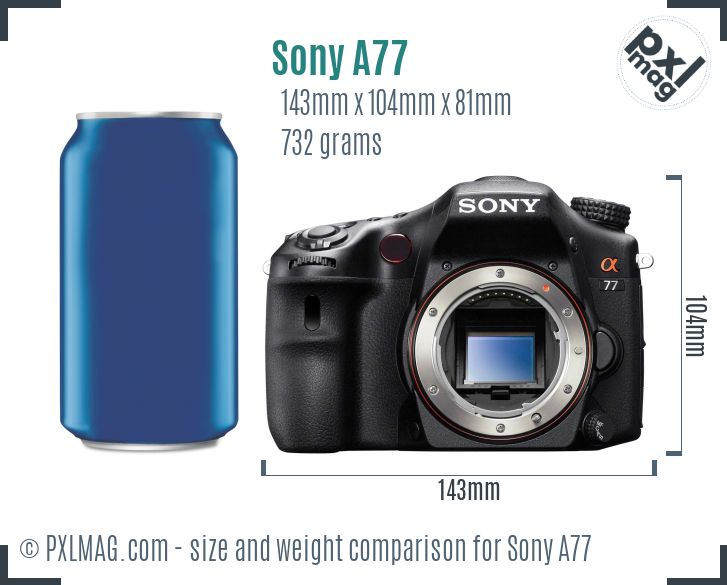 Sony SLT-A77 dimensions scale
