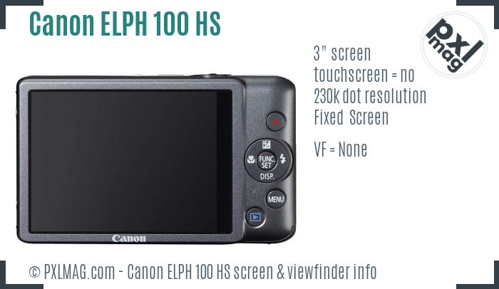 Canon ELPH 100 HS screen and viewfinder