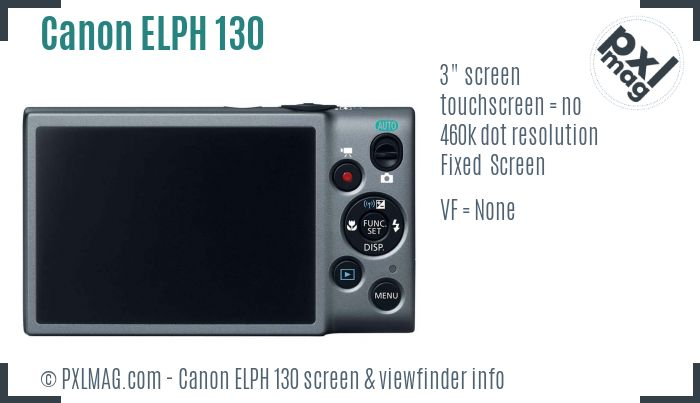 Canon ELPH 130 screen and viewfinder
