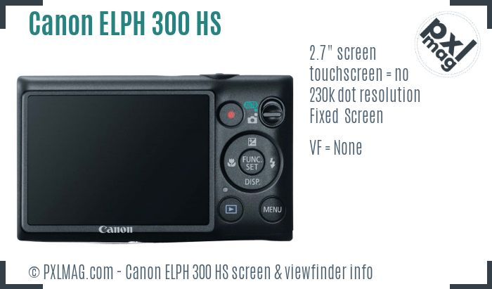 Canon ELPH 300 HS screen and viewfinder