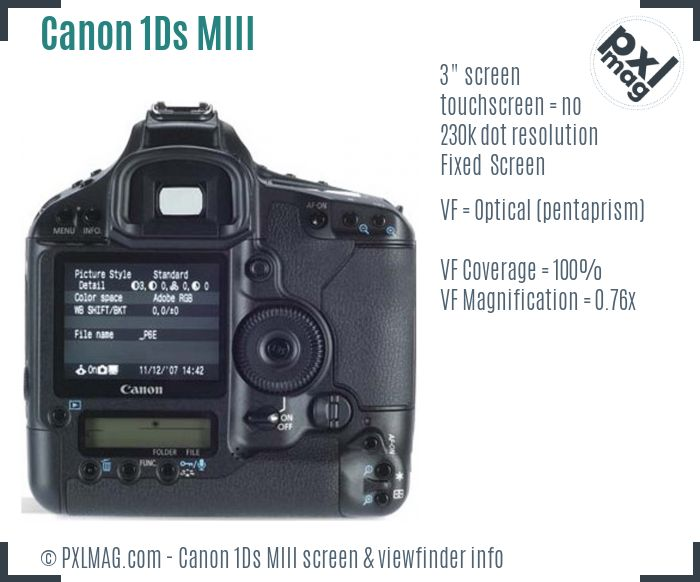 Canon EOS-1Ds Mark III screen and viewfinder