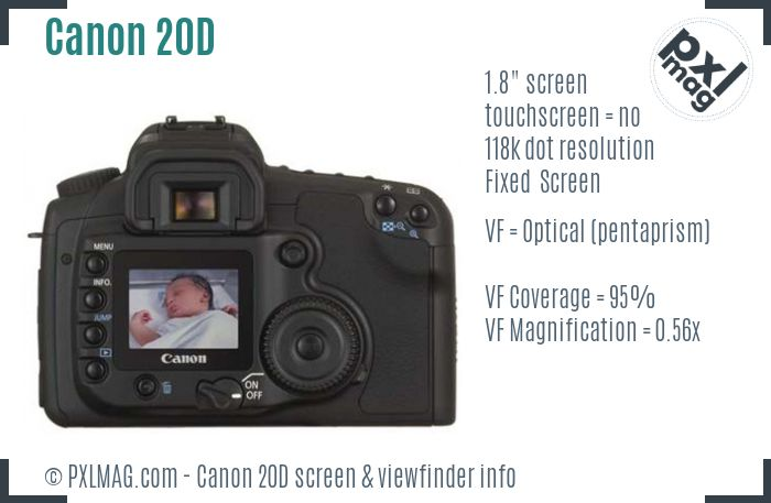Canon EOS 20D screen and viewfinder