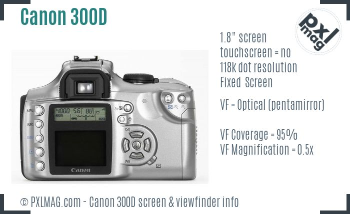 Canon EOS 300D screen and viewfinder