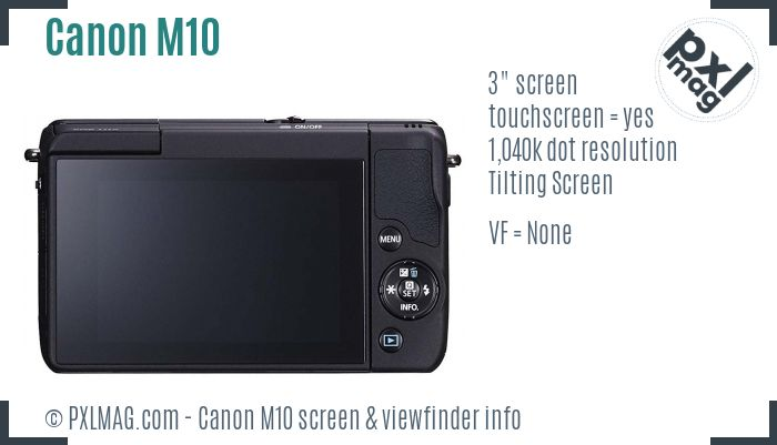 Canon EOS M10 screen and viewfinder