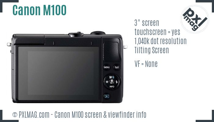 Canon EOS M100 screen and viewfinder
